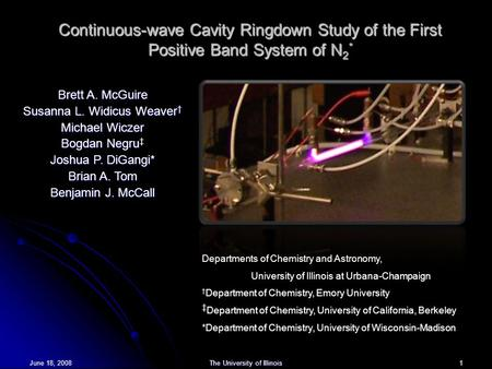 June 18, 2008The University of Illinois 1 Continuous-wave Cavity Ringdown Study of the First Positive Band System of N 2 * Brett A. McGuire Susanna L.