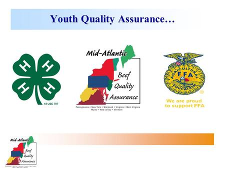 Youth Quality Assurance… Working together to help youth … National Cattlemen's Beef Association National Pork Producers Council American Sheep Industry.