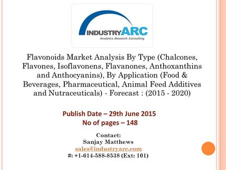 Flavonoids Market Analysis By Type (Chalcones, Flavones, Isoflavonens, Flavanones, Anthoxanthins and Anthocyanins), By Application (Food & Beverages, Pharmaceutical,