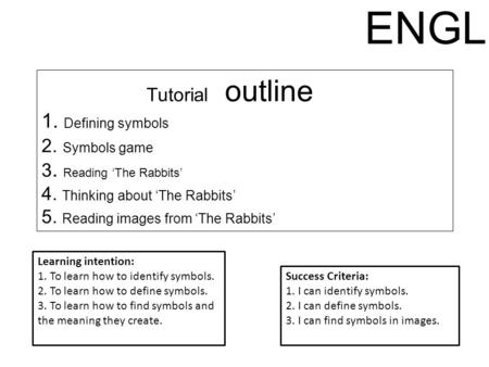 Tutorial outline 1. Defining symbols 2. Symbols game 3. Reading 'The Rabbits' 4. Thinking about 'The Rabbits' 5. Reading images from 'The Rabbits' Learning.