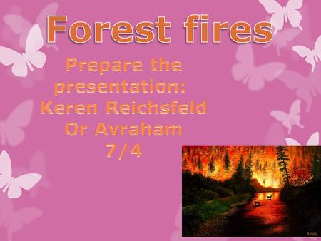A forest fire is a natural disaster consisting of a fire which destroys a forested area, and can be a great danger to people who live in forests as well.