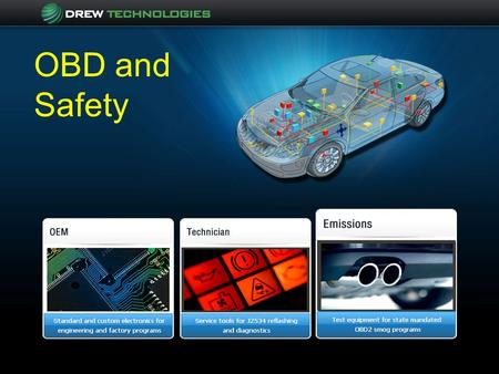 OBD and Safety. Drew Technologies Founded and incorporated in 1996 Core focus on vehicle communications and diagnostics Customers divided among 3 business.