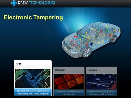 Electronic Tampering. Overview 1.Drew Tech 2.What is Tampering 3.Common methods of tampering 4.Exploring the OBD2 Simulator 5.Detecting Simulators 6.Flash.