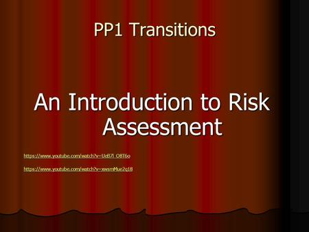 PP1 Transitions An Introduction to Risk Assessment https://www.youtube.com/watch?v=UeB7l_O8T6o https://www.youtube.com/watch?v=xwsmMue2q18.