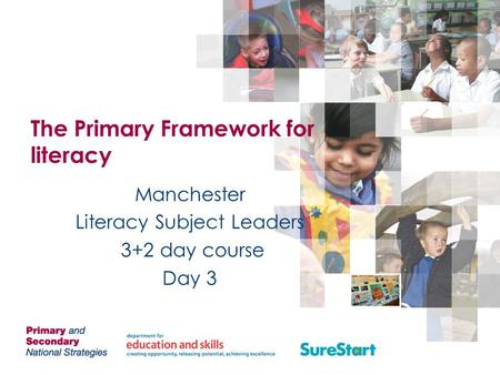 The Primary Framework for literacy Manchester Literacy Subject Leaders 3+2 day course Day 3.
