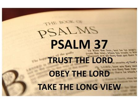 PSALM 1 PSALM 37 TRUST THE LORD OBEY THE LORD TAKE THE LONG VIEW.