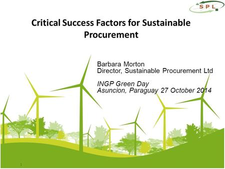 Barbara Morton Director, Sustainable Procurement Ltd INGP Green Day Asuncion, Paraguay 27 October 2014 1 Critical Success Factors for Sustainable Procurement.