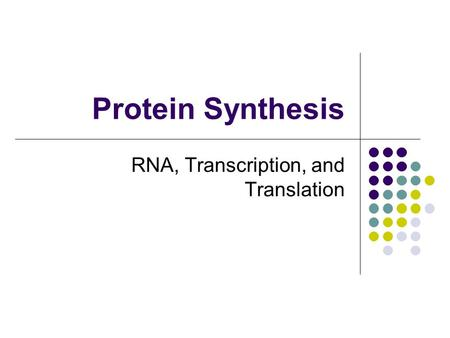 Protein Synthesis RNA, Transcription, and Translation.