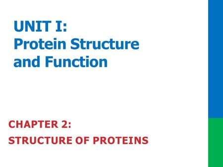 UNIT I: Protein Structure and Function CHAPTER 2: STRUCTURE OF PROTEINS.