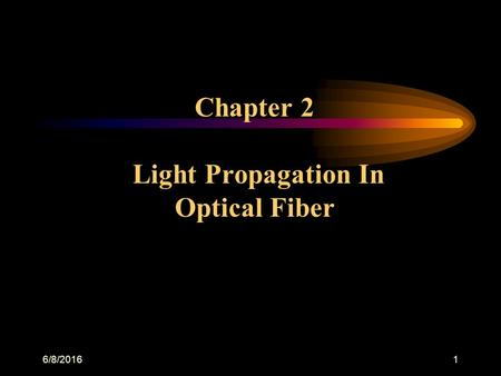 6/8/20161 Chapter 2 Light Propagation In Optical Fiber.