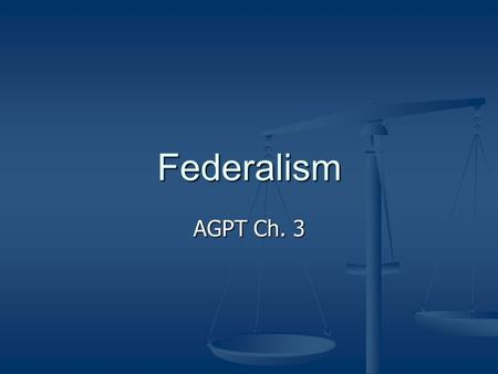 Federalism AGPT Ch. 3. Three Systems of Government Unitary Unitary Confederal Confederal Federal Federal.