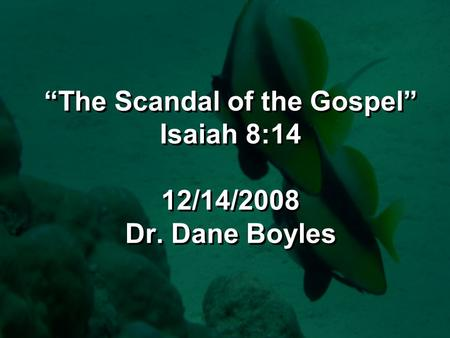 """The Scandal of the Gospel"" Isaiah 8:14 12/14/2008 Dr. Dane Boyles."