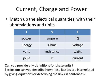 Current, Charge and Power Match up the electrical quantities, with their abbreviations and units. IVE powerampereΩ EnergyOhmsVoltage voltsresistancewatts.