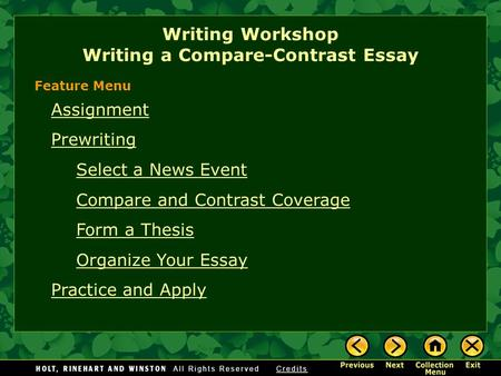 comparison contrast essay block arrangement