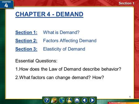 1 CHAPTER 4 - DEMAND Section 1:Section 1:What is Demand? Section 2:Section 2:Factors Affecting Demand Section 3:Section 3:Elasticity of Demand Essential.