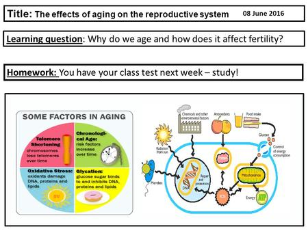 Learning question: Why do we age and how does it affect fertility? Title: The effects of aging on the reproductive system Homework: You have your class.