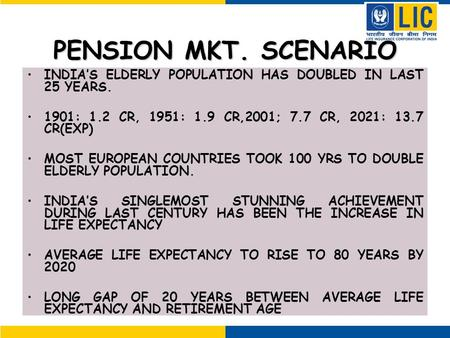 PENSION MKT. SCENARIO INDIA'S ELDERLY POPULATION HAS DOUBLED IN LAST 25 YEARS. 1901: 1.2 CR, 1951: 1.9 CR,2001; 7.7 CR, 2021: 13.7 CR(EXP) MOST EUROPEAN.