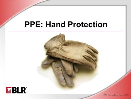 © BLR®—Business & Legal Resources (1505) PPE: Hand Protection.