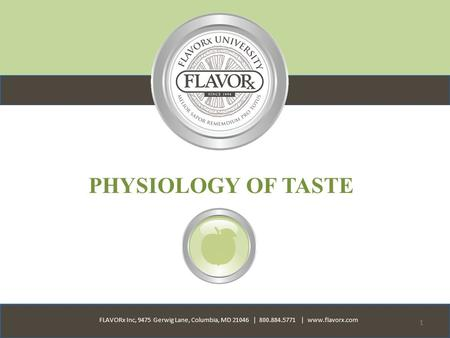 FLAVORx Inc, 9475 Gerwig Lane, Columbia, MD 21046 | 800.884.5771 | www.flavorx.com 1 PHYSIOLOGY OF TASTE.