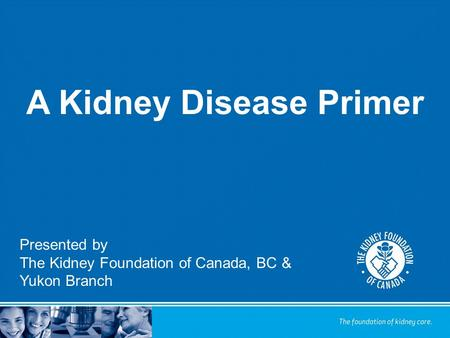 A Kidney Disease Primer Presented by The Kidney Foundation of Canada, BC & Yukon Branch.