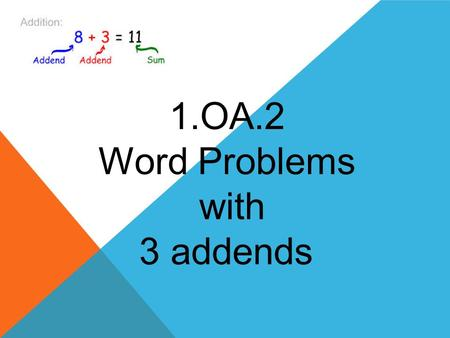 1.OA.2 Word Problems with 3 addends. 1.OA.2 STANDARD Solve word problems that call for addition of three whole numbers whose sum is less than or equal.