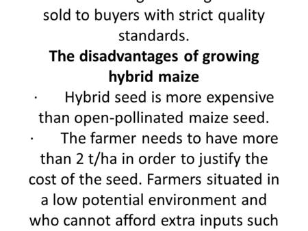 Lecture 2 Pollination for hybrid seed production in cross pollinated crops (maize example) What is hybrid maize? When maize is self-pollinated, each generation.