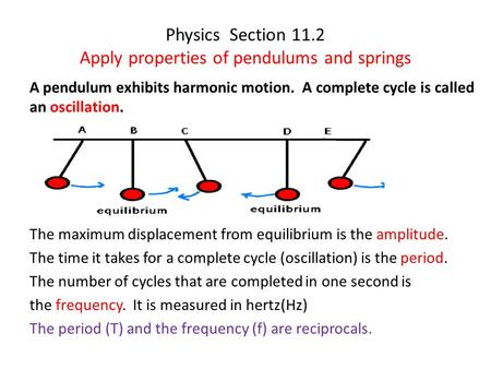 Physics Section 11.2 Apply properties of pendulums and springs A pendulum exhibits harmonic motion. A complete cycle is called an oscillation. The maximum.