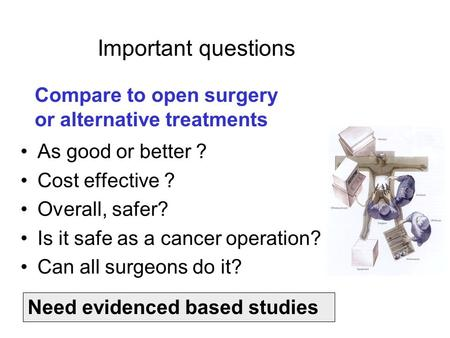 Important questions As good or better ? Cost effective ? Overall, safer? Is it safe as a cancer operation? Can all surgeons do it? Compare to open surgery.