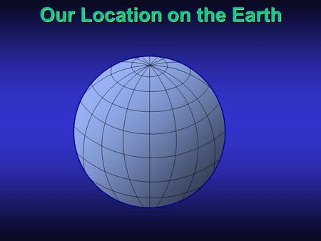 Our Location on the Earth North South EastWest North South East you are here West.