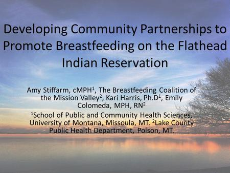 Developing Community Partnerships to Promote Breastfeeding on the Flathead Indian Reservation Amy Stiffarm, cMPH 1, The Breastfeeding Coalition of the.