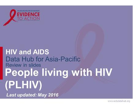 Www.aidsdatahub.org HIV and AIDS Data Hub for Asia-Pacific Review in slides People living with HIV (PLHIV) Last updated: May 2016.