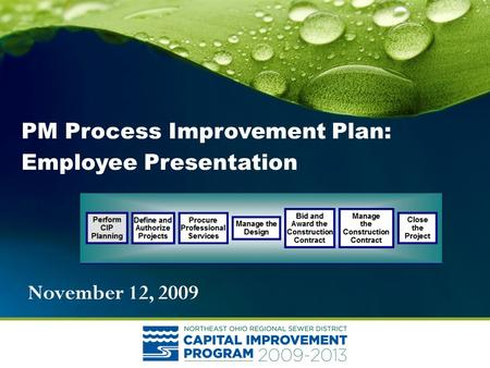 November 12, 2009 PM Process Improvement Plan: Employee Presentation.