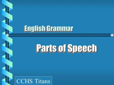 © Capital Community College English Grammar Parts of Speech CCHS Titans.