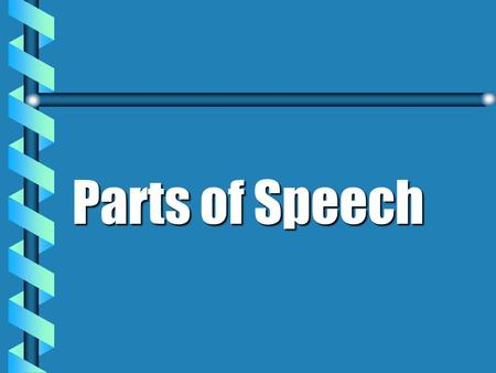 Parts of Speech Nine Parts of Speech Nouns Prono uns Adjectives Adverbs Conjunctions Prepositions Verb s Interjections Articles.