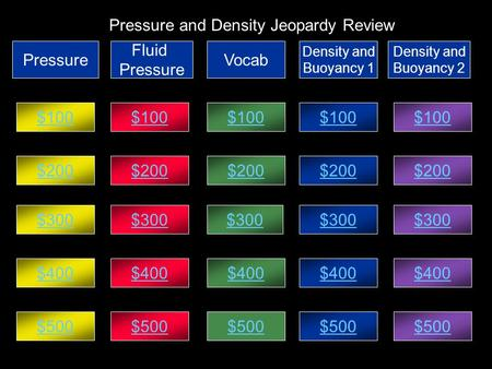 Pressure and Density Jeopardy Review Pressure Fluid Pressure Vocab Density and Buoyancy 1 Density and Buoyancy 2 $100 $200 $300 $400 $500 $400 $300 $100.