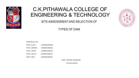 C.K.PITHAWALA COLLEGE OF ENGINEERING & TECHNOLOGY