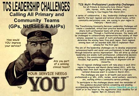 TCS Multi-Professional Leadership Challenges Registration Guidance Document page 1 of 3 TCS Multi-Professional Leadership Challenges for all Primary &