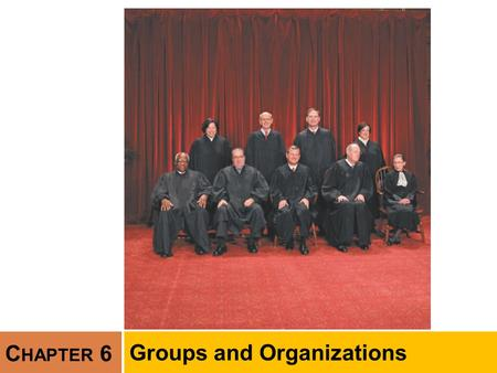 C HAPTER 6 Groups and Organizations. Chapter Outline  Concept of the Group  Types of Groups  Social Interaction in Groups  Formal Organizations 