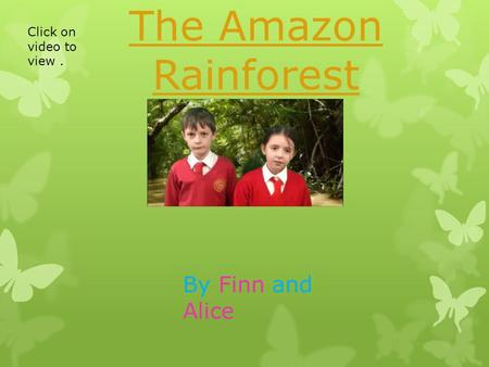 The Amazon Rainforest By Finn and Alice Click on video to view.