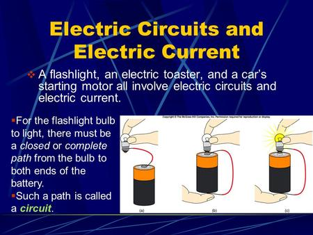 Electric Circuits and Electric Current  A flashlight, an electric toaster, and a car's starting motor all involve electric circuits and electric current.