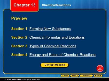 Chapter 13 Chemical Reactions Preview Section 1 Forming New SubstancesForming New Substances Section 2 Chemical Formulas and EquationsChemical Formulas.