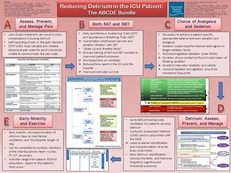 E A B C D Reducing Delirium in the ICU Patient: The ABCDE Bundle