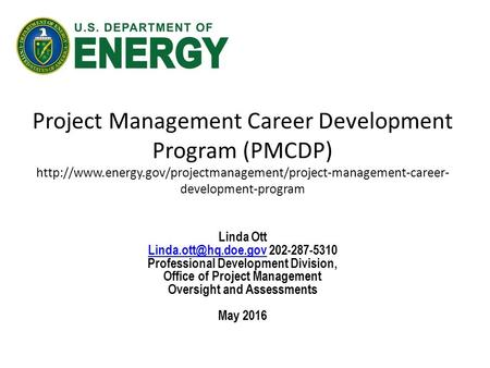 Project Management Career Development Program (PMCDP)  development-program Linda Ott.
