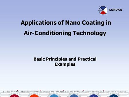 Applications of Nano Coating in Air-Conditioning Technology Basic Principles and Practical Examples LORDAN.