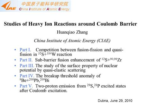Studies of Heavy Ion Reactions around Coulomb Barrier Part I. Competition between fusion-fission and quasi- fission in 32 S+ 184 W reaction Part II. Sub-barrier.