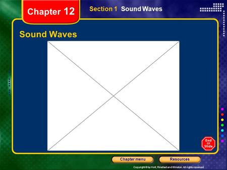 Copyright © by Holt, Rinehart and Winston. All rights reserved. ResourcesChapter menu Chapter 12 Sound Waves Section 1 Sound Waves.