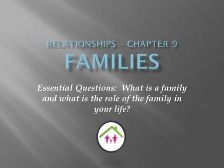 Essential Questions: What is a family and what is the role of the family in your life?