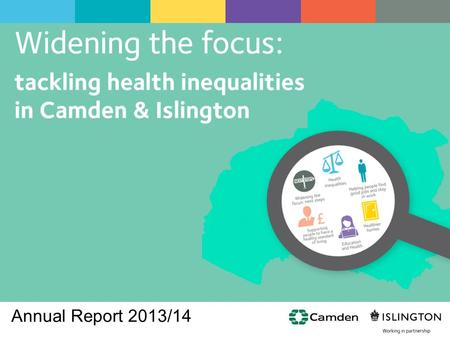 Annual Report 2013/14. The causes of the causes  The social determinants of health underpin the stark inequalities in health in Camden and Islington.