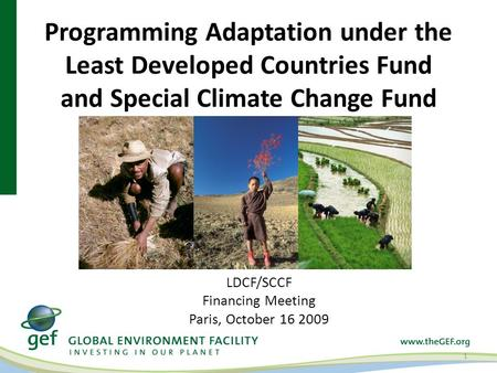 Programming Adaptation under the Least Developed Countries Fund and Special Climate Change Fund 1 LDCF/SCCF Financing Meeting Paris, October 16 2009.
