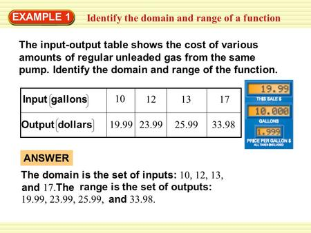 Warm-Up Exercises Identify the domain and range of a function EXAMPLE 1 The input-output table shows the cost of various amounts of regular unleaded gas.